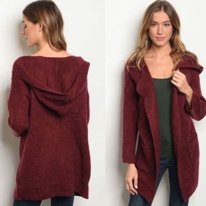Hooded open front burgundy sweater